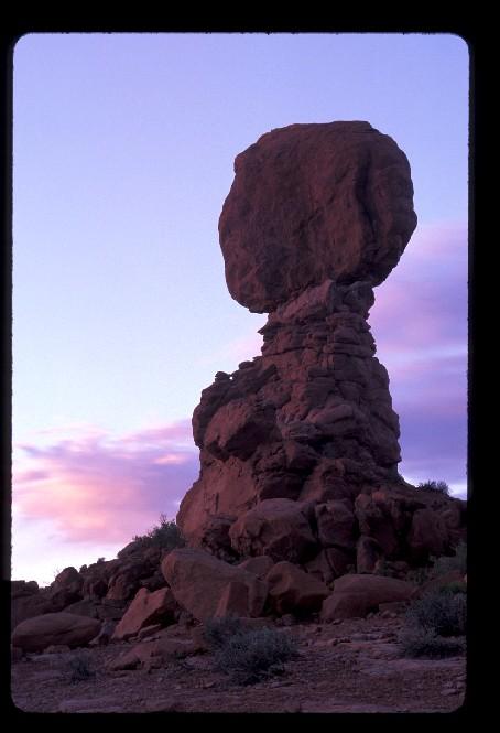 Balanced Rock at sunset in April