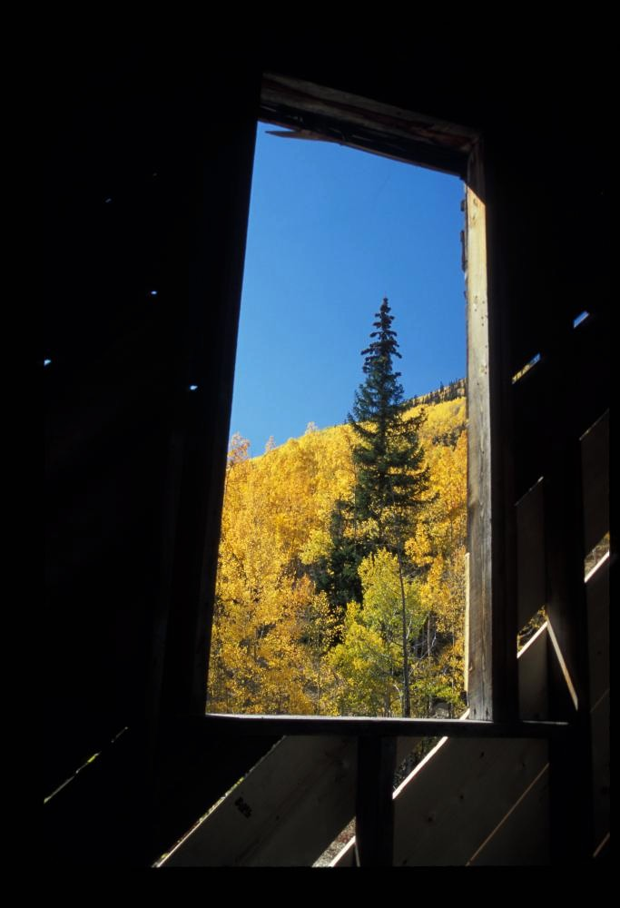 From inside a mine building, south of Ouray, CO