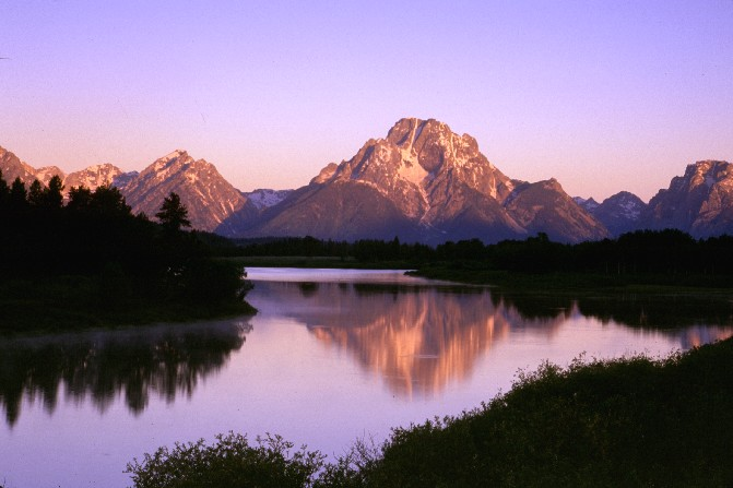 Mount Moran at sunrise from Oxbow Bend