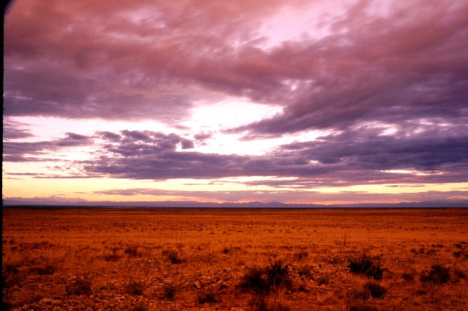 The San Luis Valley in August at sunset